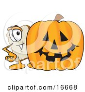 Slice Of White Bread Food Mascot Cartoon Character Standing Behind A Halloween Pumpkin