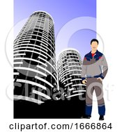 Poster, Art Print Of Worker And Skyscrapers