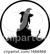 Silhouetted Witch Cat In A Circle