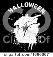 Halloween Background With Grunge And Spider Silhouette