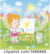 Girl Painting A Sun Outdoors