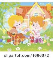 Girls Playing In A Yard