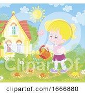 Girl Watering Plants In A Garden