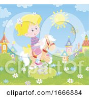 Poster, Art Print Of Girl Riding A Playground Pony