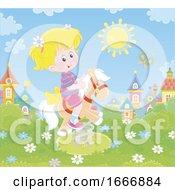 Girl Riding A Playground Pony