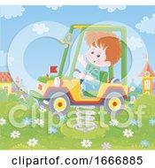 Boy On A Playground Truck