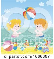 Poster, Art Print Of Children Playing In The Sea