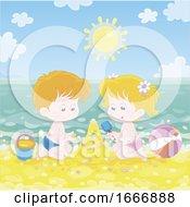 Poster, Art Print Of Children Making A Sand Castle