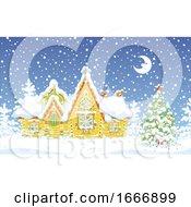 Winter Log Cabin At Night