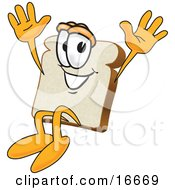 Slice Of White Bread Food Mascot Cartoon Character Jumping With Excitement