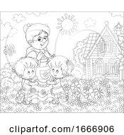 Poster, Art Print Of Children And Grandma In A Yard