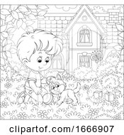 Poster, Art Print Of Boy Playing With A Kitten