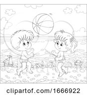 Poster, Art Print Of Children Playing With A Beach Ball