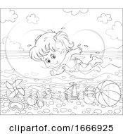 Girl Swimming In The Ocean