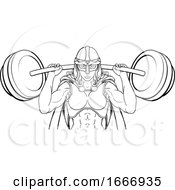 Warrior Woman Weightlifter Lifting Barbell