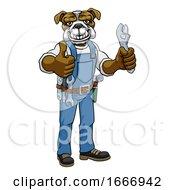 09/07/2019 - Bulldog Plumber Or Mechanic Holding Spanner