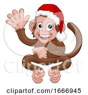 09/07/2019 - Christmas Monkey Cartoon Character In Santa Hat