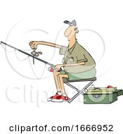 Cartoon Man Putting A Worm On A Fishing Hook