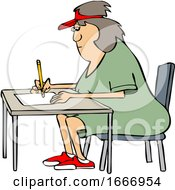 Cartoon Woman Writing At A Desk