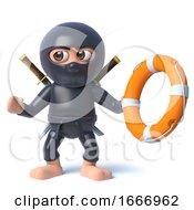 3d Funny Cartoon Ninja Assassin Warrior Character Holding Life Ring Buoyancy Aid