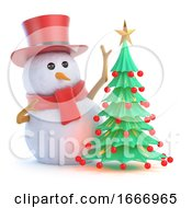 3d Posh Snowman Christmas Tree by Steve Young
