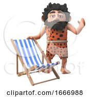 3d Cartoon Caveman Character Waving And Standing Next To A Deck Chair 3d Illustration
