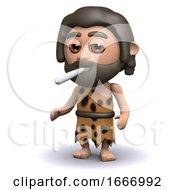Poster, Art Print Of 3d Caveman Smoking A Cigarette