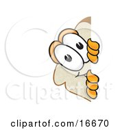 Slice Of White Bread Food Mascot Cartoon Character Spying Around A Corner