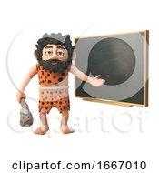 3d Funny Cartoon Caveman Character Teaching At The Blackboard 3d Illustration