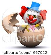 Poster, Art Print Of 3d Clown Hatches From An Egg