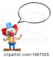 3d Clown With Speech Bubble