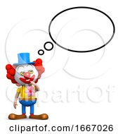 3d Clown With Thought Balloon