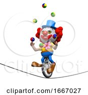 3d Clown Juggles On A Unicycle On A Highwire