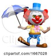 3d Clown With An Umbrella
