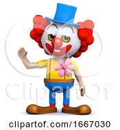 3d Clown Waves Hello