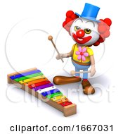 3d Clown Plays A Xylophone