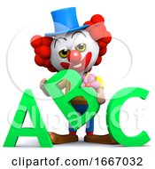3d Clown Learns His Alphabet
