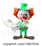 3d Funny Cartoon Crazy Clown Character Is Lost Looking At The Map