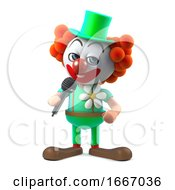 3d Funny Cartoon Clown Character Jokes Into The Microphone
