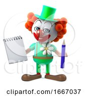 3d Cartoon Funny Crazy Clown Character Holding A Notepad And Pencil