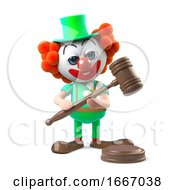 3d Funny Cartoon Clown Character Holds An Auction