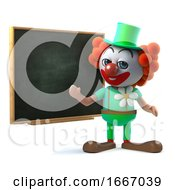 3d Funny Clown Character Stands By A Blackboard