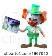 3d Funny Cartoon Clown Character Pays With A Debit Card