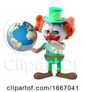 3d Funny Cartoon Crazy Clown Character Holds A Globe Of The Earth