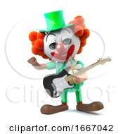 Poster, Art Print Of 3d Funny Cartoon Clown Character Playing An Electric Guitar