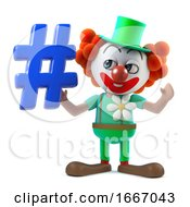 3d Funny Cartoon Clown Character Holding A Hash Tag Symbol