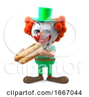 3d Funny Cartoon Clown Character Eats A Hotdog Snack