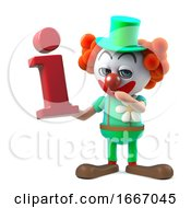 3d Funny Cartoon Crazy Clown Character Holding An Information Symbol