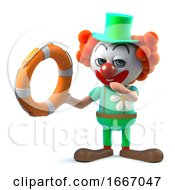 3d Funny Cartoon Clown Character Comes To The Rescue With Life Ring