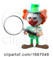 3d Funny Cartoon Clown Character Using A Magnifying Glass